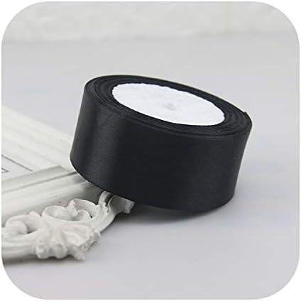 結婚式誕生日パーティー装飾サテンリボンホワイトブラックブルーピンクパープルグリーンレッドオレンジイエローシルクサテンリボン22メートル-Black-6mm