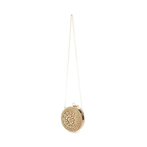 et pierres Modeuse détails La rigide ronde strass Pochette Doré avec q0qAw7a