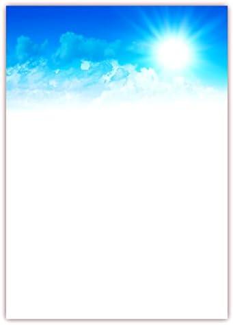 Motivpapier Briefpapier (Himmel-5167, DIN A4, 25 Blatt) - blauer Himmel mit Wolken und strahlender Sonne
