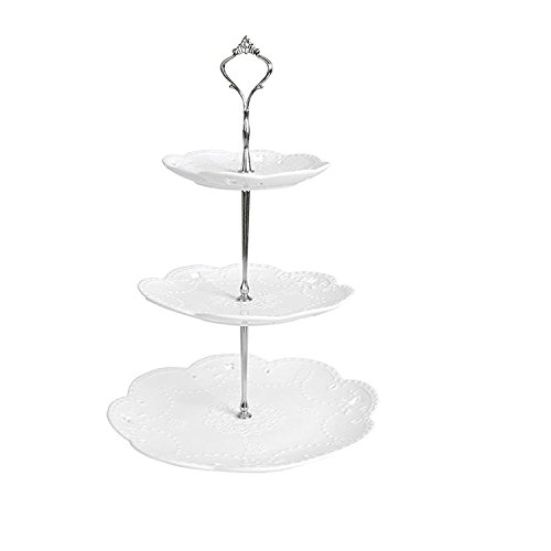 (King Dao Bone China Ceramic Cake Plates Stand Porcelain Cheese Service Plates Cupcake Stand Xmas Gift Party Porcelain Tea Coffee Cup (3 Tires round with silver stand))