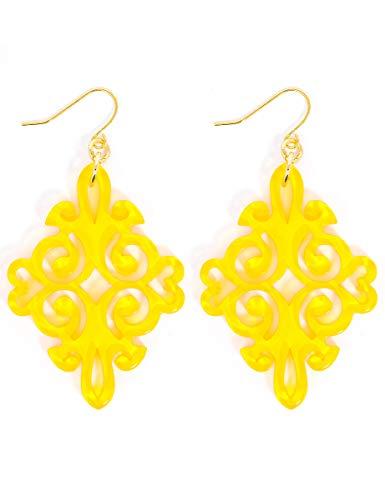 (ZENZII Acrylic Resin Twirling Drop Earrings for Women (Yellow))