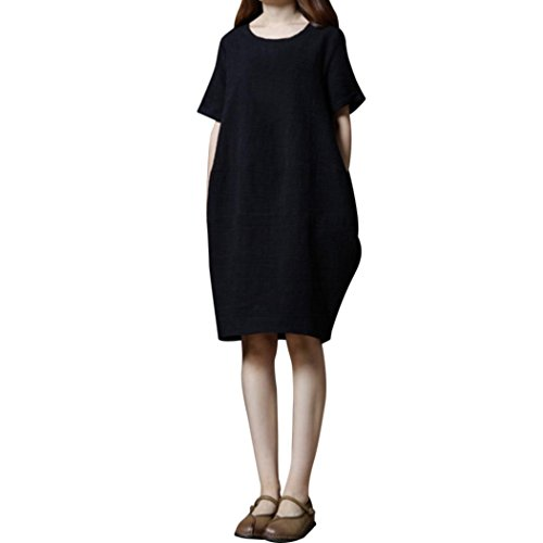 Guesspower Femme Robe Ete Chic Casual Loose Manches Courtes en Coton pour Femmes Rouge/Noir M-XXL (38-44) Noir