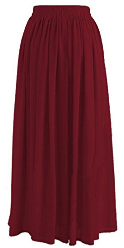 Lutratocro Womens Chiffon Muslim Solid Color Islamic Baggy Dubai Big Hem Skirt Wine Red XS by Lutratocro