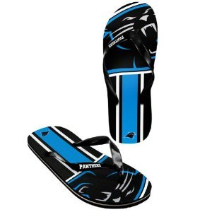 Carolina Panthers official NFL Unisex Flip Flop Beach Shoes Sandals slippers size large by forever