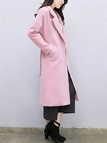 Donna Abbigliamento Cintura Bavero Inclusa Pulsante Trench Di Pink Moda Giubotto Manica Tasche Cappotti Invernali Laterali Giacca Vento Lunga Hndq0