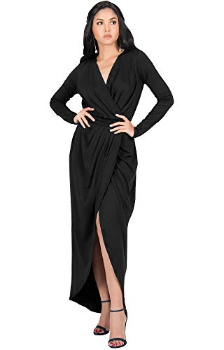 (KOH KOH Womens Long Sleeve Full Length V-Neck Sexy Wrap Empire Waist Formal Winter Fall Cocktail Wedding Evening Gown Gowns Maxi Dress Dresses, Black L 12-14)