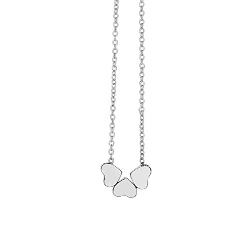 Beauty Charm, Women Stainless Steel Three Heart Pendant Chain Necklace (B)