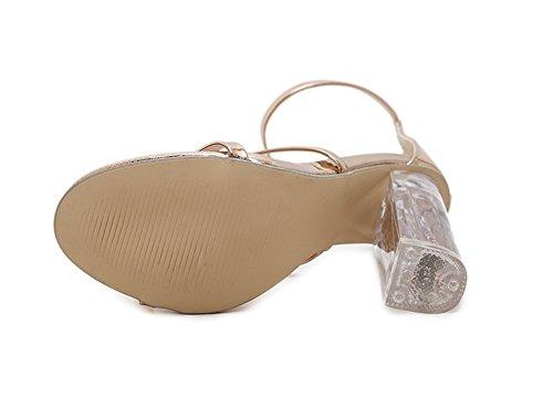 35 Scarpe Alto Toe Da Sandali Donna Nvxie Con Spessi 39 Trasparente Alti Tacco Golden Paillettes Estate Parola Col Open Tacchi 4Tq0d