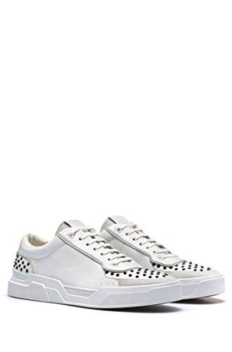 HUGO Sneaker Symmetric_Tenn_ltst Aus Leder mit Nieten-Verzierungen Weiss 100