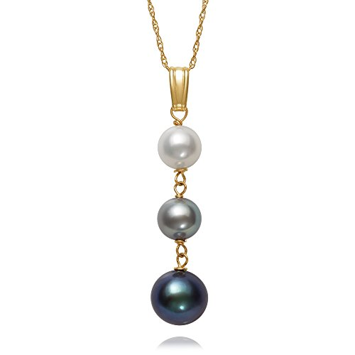 Necklace Freshwater Multi Pearl (14K Yellow Gold Multi-Black Trio Cultured Freshwater Pearl Pendant Chain Necklace,18