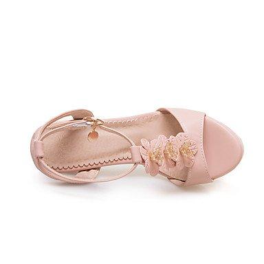 LvYuan Mujer Sandalias Confort Tira en el Tobillo Suelas con luz Cuero real Verano Vestido Fiesta y NocheConfort Tira en el Tobillo Suelas con blushing pink