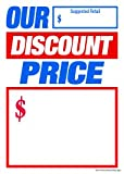 T50ODP Our Discount Price - Slotted Sale Tags Price Cards for Furniture and Retail - 5'' x 7'' (100 Pack) Business Store Signs