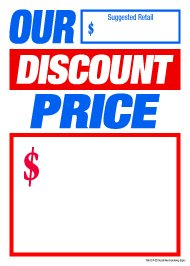 T50ODP Our Discount Price - Slotted Sale Tags Price Cards for Furniture and Retail - 5'' x 7'' (100 Pack) Business Store Signs by Retail Merchandising Signs LLC
