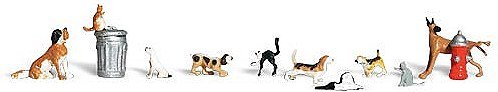 WOODLAND SCENICS A1841 Dogs & Cats HO WOOU9141 Woodland Scenics Dogs