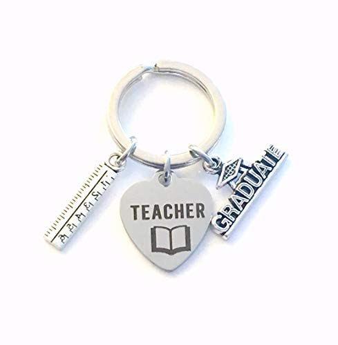 (Teacher Key Chain, Graduation Gift for New Teacher Keychain, BEd Grad Present Keyring, Graduate Women, Men, Him, Her - with Silver Ruler Charm 2019 2020 2021 )