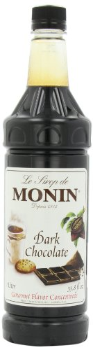 Monin Flavored Syrup, Dark Chocolate, 33.8-Ounce Plastic Bottles (Pack of 4)