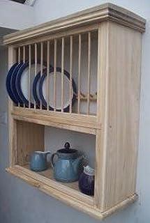 CAMPDEN OAK COMBI PLATE RACK/SHELF & Raw Oak Plate Rack Wall Unit - Country Kitchen: Amazon.co.uk ...