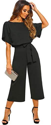 Longwu Women's Elegant High Waist Short Sleeve Jumpsuit Casual Wide Leg Pants Loose Rompers with Belt Black-M