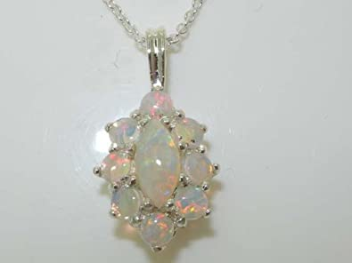 Ladies Solid 925 Sterling Silver Natural Opal Cluster Pendant Necklace