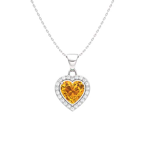 - Diamondere Natural and Certified Citrine and Diamond Heart Petite Necklace in 14k White Gold | 0.51 Carat Pendant with Chain