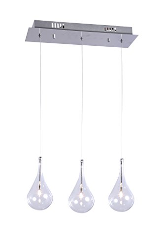 Modern Teardrop Low-Voltage Rectangular Three Light Pendant Larme Glass Polished Chrome