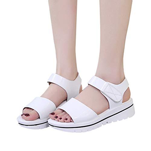 Women's Espadrilles Flatform Wedge Sandal Ankle Strap Open Toe Sandals Women Beach Pumps Dress Shoes Size 5-7.5 (US:5.5, White) (Bongo Womens Sandals)
