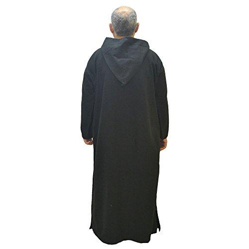 Mide Marruecos y cm 70 largo djelaba sisa de caftán o modelo color 150 lana túnica capucha Chilaba negro de con cm 47Bq1