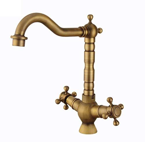 (Antique Bronze Matt Dual Flow Kitchen Sink Mixer Tap Twin Lever Classic Kitchen Sink Taps, Double Handle Solid Brass Kitchen Tap)