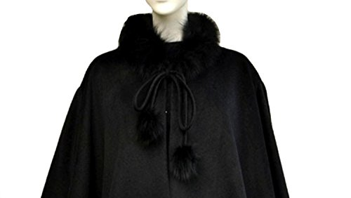 Cashmere Pashmina Group:Cashmere Cape w/genuine Fox Fur Collar & Fox pompom ties (Black) by Cashmere Pashmina Group (Image #6)
