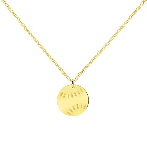 14k Yellow Gold Mini Baseball Sports Necklace with Spring Ring Clasp (16