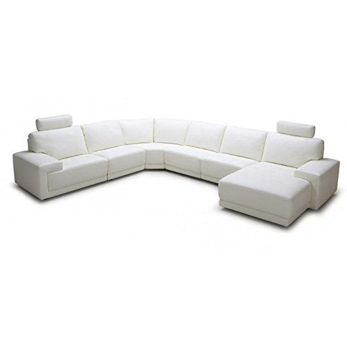 Divani Casa Cypress Modern Eco-Leather Sectional Sofa with Headrests