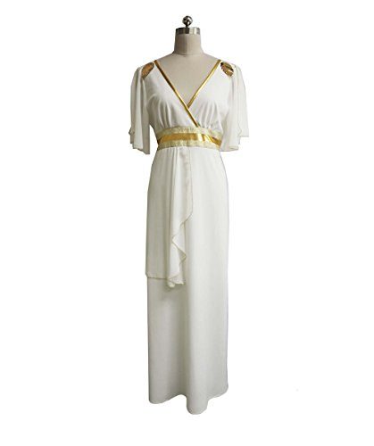 Women's Greek Goddess Costume, White & Gold Medium ()
