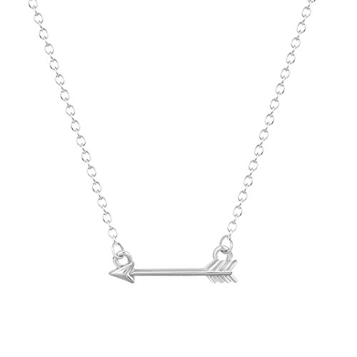 Handmade Powerful Petite Horizontal Shooting Arrow Pendant Necklace Alloy Jewelry Collares Silver