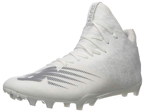 New Balance Men's Burn X2 Mid-Cut Lacrosse Shoe, White/Dark Grey, 10.5 D US