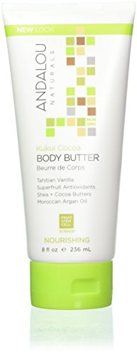 Andalou Naturals Kukui Cocoa Nourishing Body Butter, 8 oz, Helps Nourish, Smooth, Soften, and Protect Skin, with Aloe Vera, Vanilla, Cocoa and Shea Butter
