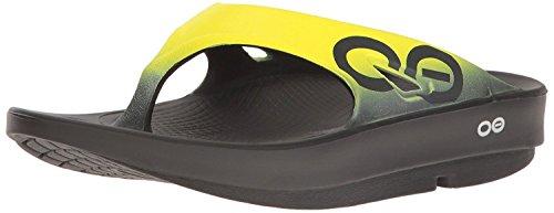 OOFOS Unisex Ooriginal Sport Thong Flip Flop, Black/Yellow, 16 B(M) US Women / 14 D(M) US Men