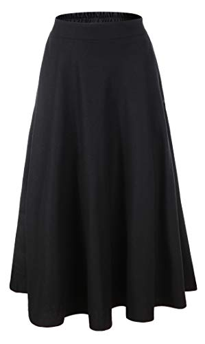Blend Skirt Long - Vocni Women Flared Plaid A-Line Winter Wool Blend Midi Long Skirt,Black,US S/Tag XL (Waist 30.3