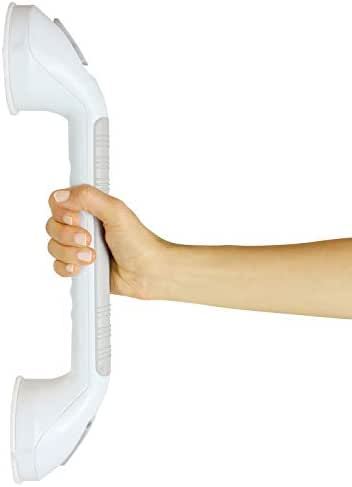 Vive Suction Grab Bar - Shower Handle - Bathroom Balance Bar - Safety Hand Rail Support for Tub, Handicap, Elderly, Injury, Kid, Senior Assist Bath Handle, Non Skid (16 Inches)