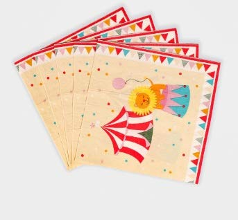Taka Co Circus Party Decorations 20 pcs/pack Circus Wedding Napkin Paper 100% Virgin Wood Tissue For Festival&Birthday Party Decoration Decoupage 16.5cm*16.5cm -