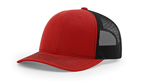 Richardson 112 Mesh Back Trucker Cap Snapback Hat, Red/Black