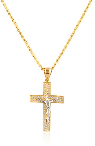 10K Two Tone Gold Crucifix Cross Pendant with Cz Stones & 2mm 24'' Rope Necklace by JOTW