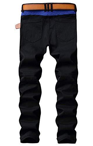 Estilo Uomo Denim Ufig Slim Especial Da Pantaloni Biker Fit Incantesimo Chiusura Colore Casual Jeans Blau Moto qwFxv8nt