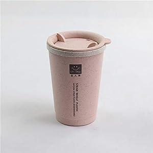 Ocamo Tazza da caff¨¨ Tazza da Bevanda in Paglia di Poliestere con Isolamento a Parete a Doppia Parete da 280 ml con Foro di Ventilazione Adatta per Alimenti Rosa Nordico