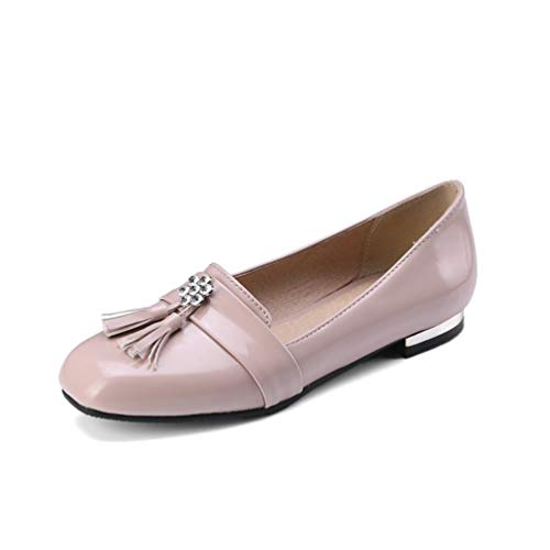 (JOYBI Women Casual Flat Moccasins Comfortable PU Leather Tassels Slip-On Low Heel Round Toe Loafers Shoes Pink)