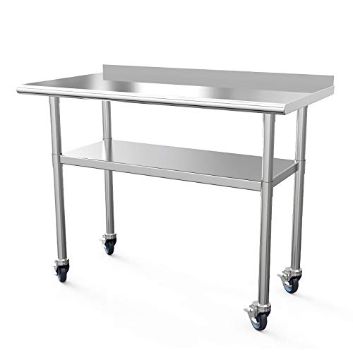 "Commercial Work Table NSF Stainless Steel Table 48 x 24 Inches Heavy Duty Workbench Industrial Restaurant Food Work Tables for Shop Worktop with 1 1/2"" Backsplash /4 Caster Wheels from SUNCOO"