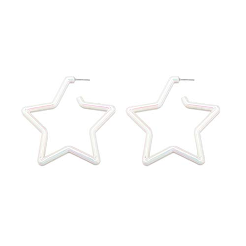 GUNIANG Large Colorful Star White Hoop Earrings for Women Girls, Boho Geometric Earring Hoops for Sensitive Ears Fun 80s