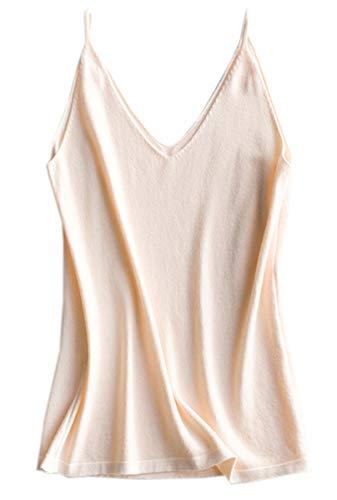 Women's Knit Cami Tank, Spaghetti Strap Cashmere Blend Camisole Top for Women, Beige, US 10 = Tag 2XL (Beige Cashmere Blend)