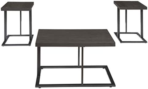 Signature Design by Ashley – Airdon Contemporary 3-Piece Table Set – Includes Coffee Table 2 End Tables, Bronze Finish