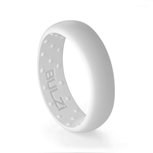 BULZi – Massaging Comfort Fit Silicone Wedding Ring - #1 Most Comfortable Women's Wedding Band – Round Edges with Flexible Work Safety Domed Design (White, Size 4 - (6mm Width ()