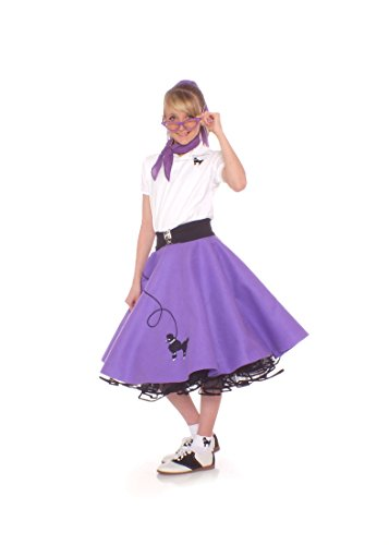 Hip Hop 50s Shop 4 Piece Child Poodle Skirt Costume Set, Size Medium Purple